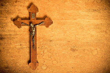 Catholic crucifix on wood