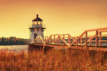 Fotobehang Vuurtoren Doubling Point Lighthouse in New England
