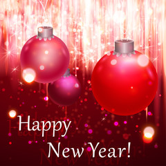 Happy New Year Greeting Card. Blurred background with lights.