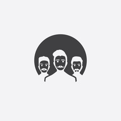 hipster team cut identity template icon