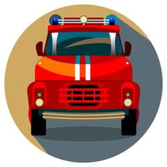 Red Fire Truck Vector Illustration.