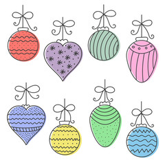 Christmas colorful hand drawn round, cone, heart balls. Vector illustration.