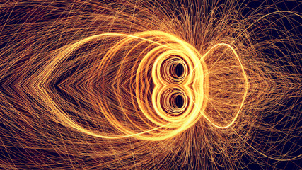 Amazing Symmetry   Fire steel wool .