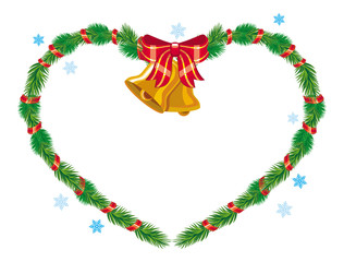 Holiday Christmas heart-shaped garland with Bells
