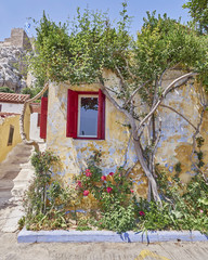 Athens Greece, picturesque house at Anafiotika, an old neighborhood under acropolis, built by Anafi islanders according to their tradition around 1840