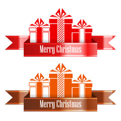Merry Christmas banner ribbon. New Year concept. Vector Illustration