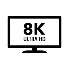 8K full ultra HD / UHD HDTV flat icon for apps and websites