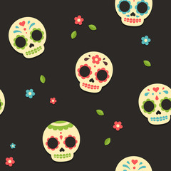 Mexican sugar skulls pattern