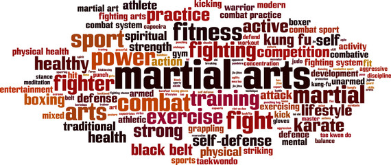Martial arts word cloud concept. Vector illustration