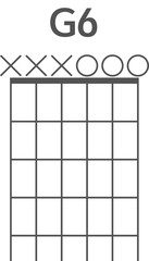 Guitar chord diagram to add to your projects, a beginners version of the G6 chord   1445286705354