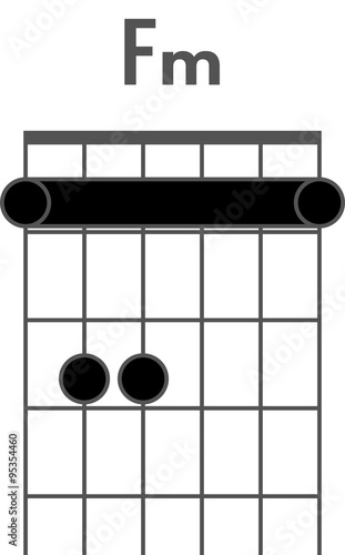 Guitar chord diagram to add to your projects, F minor chord with ...
