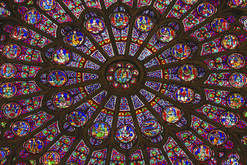Rose Window Mary Jesus Stained Glass Notre Dame Cathedral Paris