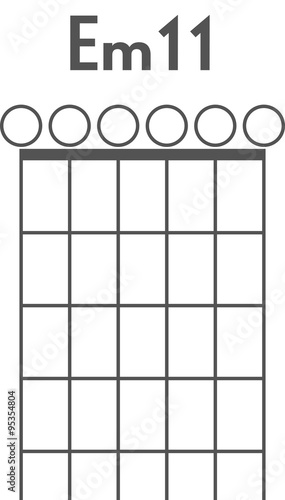 Guitar chord diagram to add to your projects, E minor 11 open ...