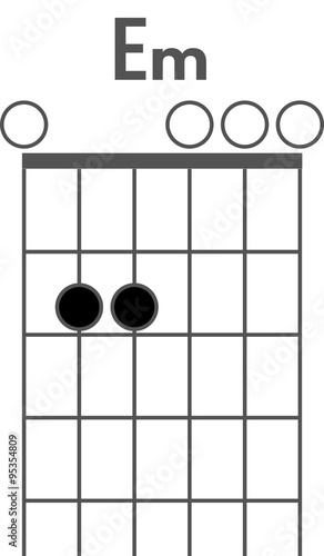 Guitar Chord Diagram To Add To Your Projects E Minor Chord Stock