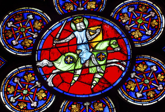 Armed Knight Sword Stained Glass Notre Dame Cathedral Paris