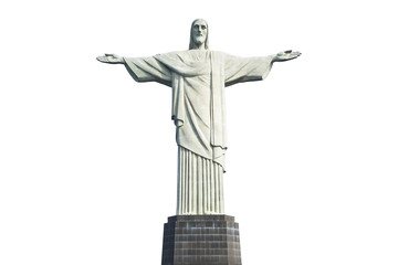 Christ the Redeemer Statue in Rio de Janeiro, Brazil, on white backgroung.