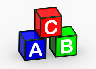 ABC cube 3d on white background