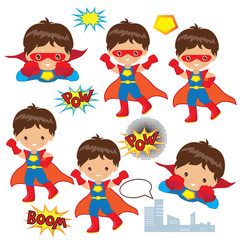 Superhero boy vector illustration