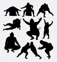 Sumo japanese sport silhouette. Good use for symbol, logo, web icon, mascot, game elements, or any design you want. Easy to use.