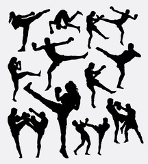 Muay Thai boxing. Male and female kick boxing silhouette. Good use for symbol, logo, web icon, mascot, game elements, or any design you want. Easy to use.