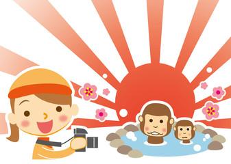 新春 温泉を楽しむ申 シャッターチャンスカメラ女子
