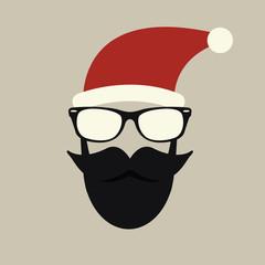 Hipster-santa silhouette with santa hat, aviator sunglasses and beard