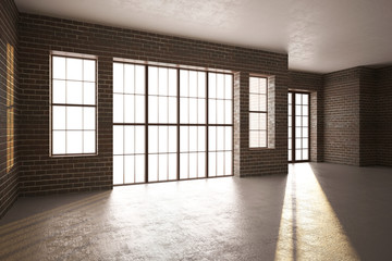 3d illustration of Brick room with large windows
