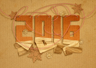 2016 Happy New Year greeting card with paper snowflakes on vintage cardboard background.