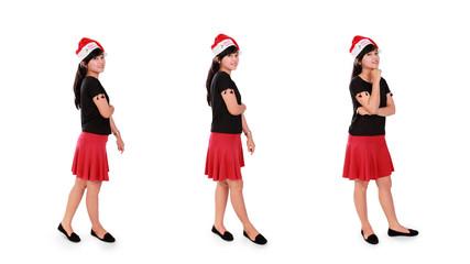 Christmas girl standing poses