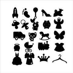 black and white children's icons