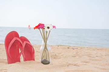 Red old slippers and flower on the beach with windsurf in backgr