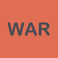 War icon. Vector with the word war.