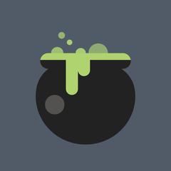 Witch cauldron icon. Halloween icon.