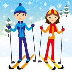 Happy couple skiing.