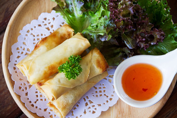 fried spring rolls on wooden table