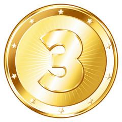 Three Year Anniversary - Round Gold Badge
