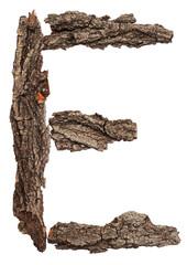 Alphabet from bark tree isolated on white background. Letter E