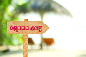 Dream job concept. Wooden sign arrow on nature background