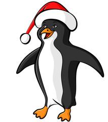 Cartoon penguin in Santa cap