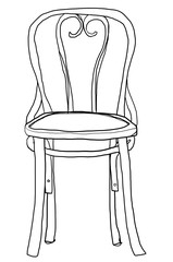 vintage chair bentwood chair cute line art illustration