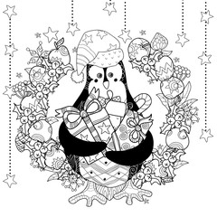 Christmas penguin with gift box zentangle doodle.Vector illustration layered ready for coloring.