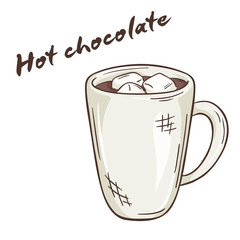 vector printable illustration of isolated cup of hot chocolate with label