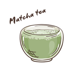 vector printable illustration of isolated cup of matcha tea with label