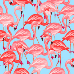 Tropical birds seamless pattern with pink flamingos