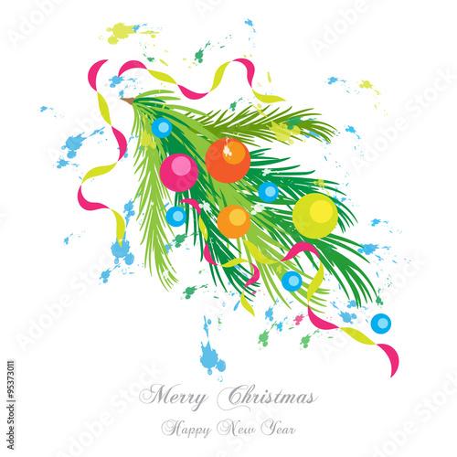 Immagini Natalizie Vettoriali.Ramo Di Pino Stilizzato Con Decorazioni Natalizie Merry Christmas