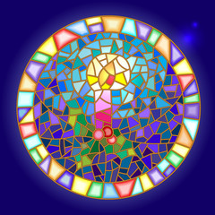 Illustration in stained glass style with a candle on the theme of winter holidays