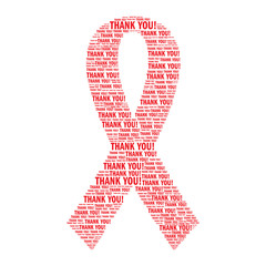 """AIDS awareness red ribbon made of """"Thank you"""" words. Isolated on white background. World AIDS day concept illustration."""