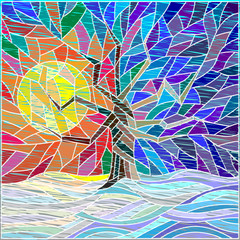 Illustration with tree on background winter sky stylized children's drawing