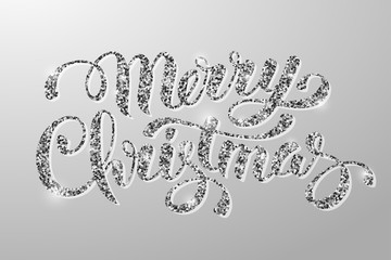 Luxury Christmas greeting card with calligraphic inscription Merry Christmas and silver glitter texture on gray background. Vector illustration.