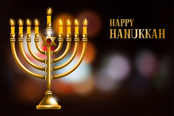 Elegant greeting card for Happy Hanukkah, jewish holiday. Hanukkah golden menorah with burning candles on blurred night background. Vector illustration.